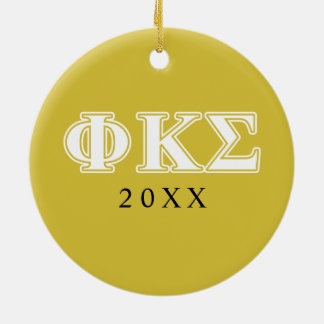 Phi Kappa Sigma White and Gold Letters Christmas Ornament
