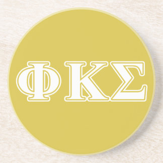 Phi Kappa Sigma White and Gold Letters Coaster