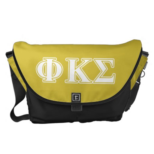 Phi Kappa Sigma White and Gold Letters Messenger Bags
