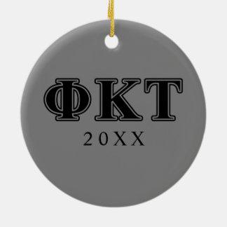 Phi Kappa Tau Black Letters Christmas Ornament