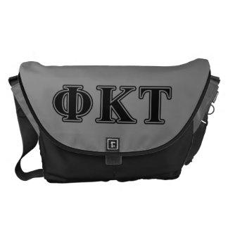 Phi Kappa Tau Black Letters Messenger Bags