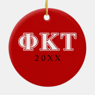 Phi Kappa Tau White and Red Letters Christmas Ornament