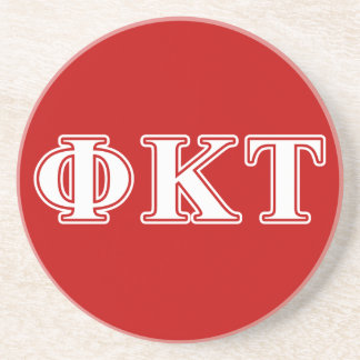 Phi Kappa Tau White and Red Letters Drink Coasters