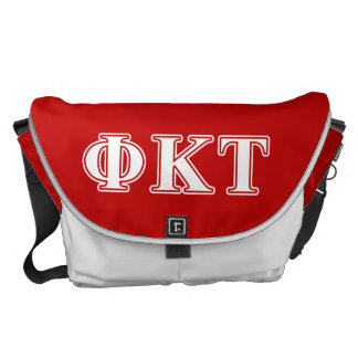 Phi Kappa Tau White and Red Letters Courier Bag