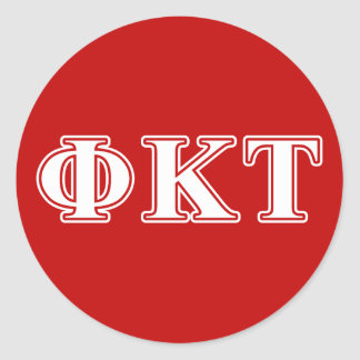 Phi Kappa Tau White and Red Letters Round Sticker