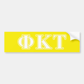 Phi Kappa Tau White and Yellow Letters Bumper Sticker