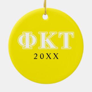 Phi Kappa Tau White and Yellow Letters Christmas Ornament