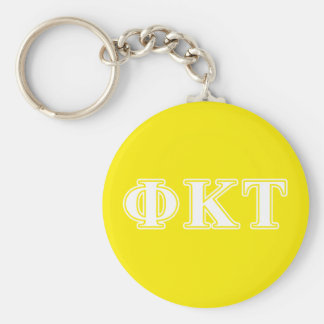Phi Kappa Tau White and Yellow Letters Key Ring