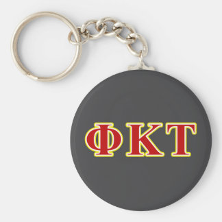 Phi Kappa Tau Yellow and Red Letters Basic Round Button Key Ring