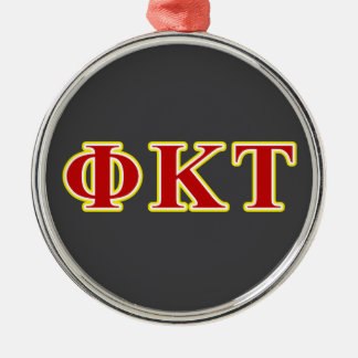 Phi Kappa Tau Yellow and Red Letters Christmas Ornament