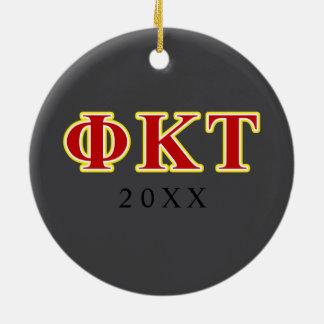 Phi Kappa Tau Yellow and Red Letters Christmas Ornament