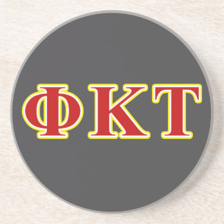 Phi Kappa Tau Yellow and Red Letters Drink Coasters