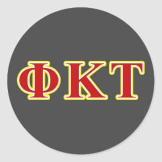 Phi Kappa Tau Yellow and Red Letters Round Sticker