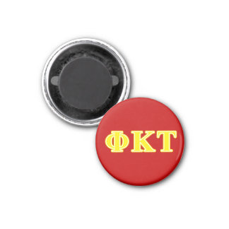 Phi Kappa Tau Yellow Letters 3 Cm Round Magnet