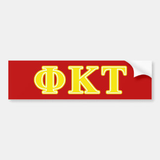 Phi Kappa Tau Yellow Letters Bumper Sticker