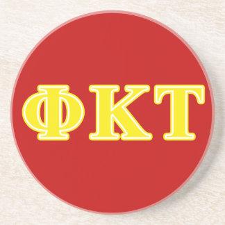 Phi Kappa Tau Yellow Letters Coaster