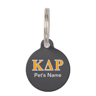 Phi Kappa Theta Orange and Blue Letters Pet Name Tag