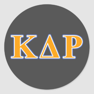 Phi Kappa Theta Orange and Blue Letters Round Sticker