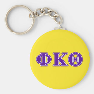 Phi Kappa Theta Purple Letters Basic Round Button Key Ring