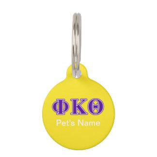 Phi Kappa Theta Purple Letters Pet Tag