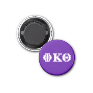 Phi Kappa Theta White and Purple Letters 3 Cm Round Magnet