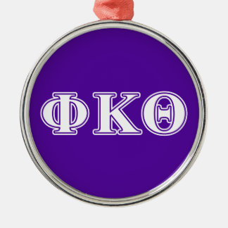 Phi Kappa Theta White and Purple Letters Christmas Ornament