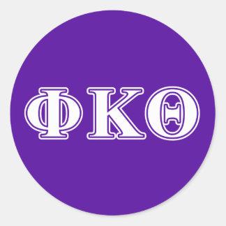 Phi Kappa Theta White and Purple Letters Classic Round Sticker