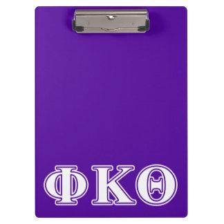 Phi Kappa Theta White and Purple Letters Clipboard