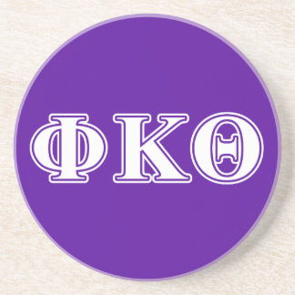 Phi Kappa Theta White and Purple Letters Coaster