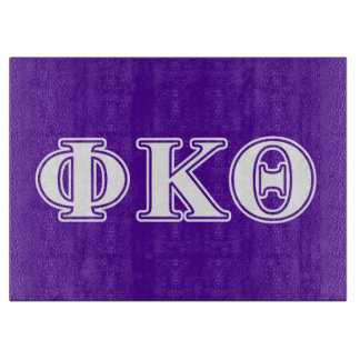 Phi Kappa Theta White and Purple Letters Cutting Board