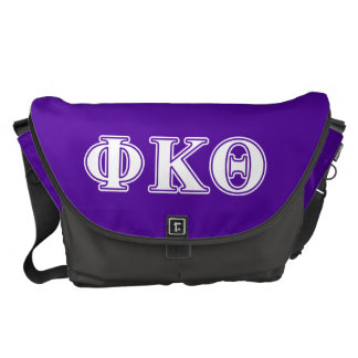 Phi Kappa Theta White and Purple Letters Courier Bag