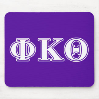 Phi Kappa Theta White and Purple Letters Mouse Pad