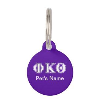 Phi Kappa Theta White and Purple Letters Pet Name Tag