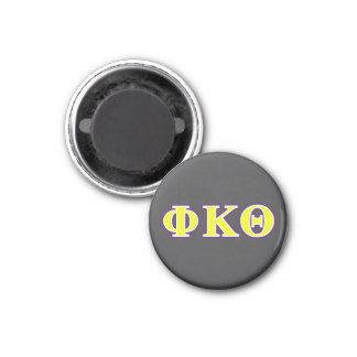Phi Kappa Theta Yellow and Purple Letters 3 Cm Round Magnet