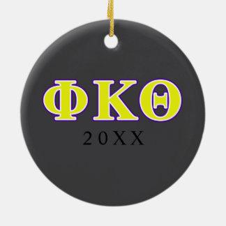 Phi Kappa Theta Yellow and Purple Letters Christmas Ornament