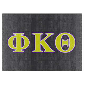 Phi Kappa Theta Yellow and Purple Letters Cutting Board