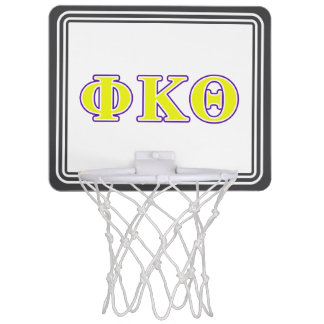 Phi Kappa Theta Yellow and Purple Letters Mini Basketball Hoop