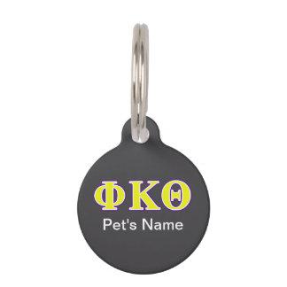 Phi Kappa Theta Yellow and Purple Letters Pet Name Tag