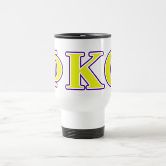 Phi Kappa Theta Yellow and Purple Letters Travel Mug