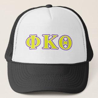 Phi Kappa Theta Yellow and Purple Letters Trucker Hat