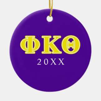 Phi Kappa Theta Yellow Letters Christmas Ornament