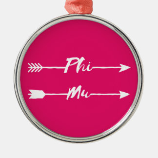 Phi Mu Arrow Christmas Ornament