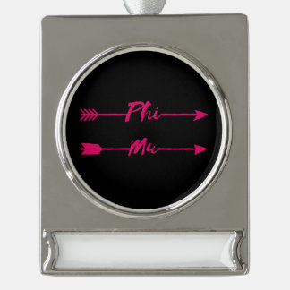 Phi Mu Arrow Silver Plated Banner Ornament
