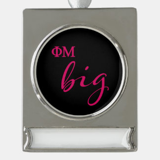 Phi Mu Big Script Silver Plated Banner Ornament