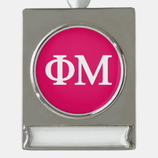 Phi Mu Lil Big Logo Silver Plated Banner Ornament