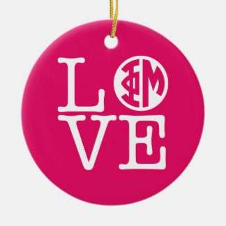 Phi Mu Love Christmas Ornament