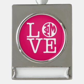 Phi Mu Love Silver Plated Banner Ornament