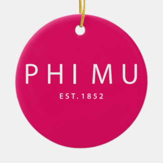 Phi Mu Modern Type Christmas Ornament