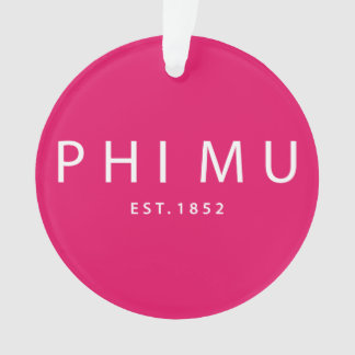 Phi Mu Modern Type Ornament