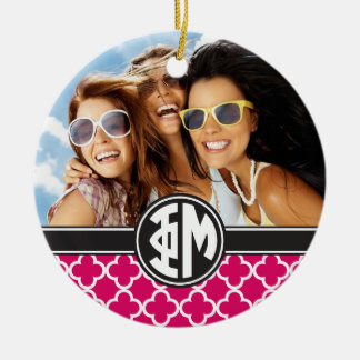 Phi Mu | Monogram and Photo Christmas Ornament